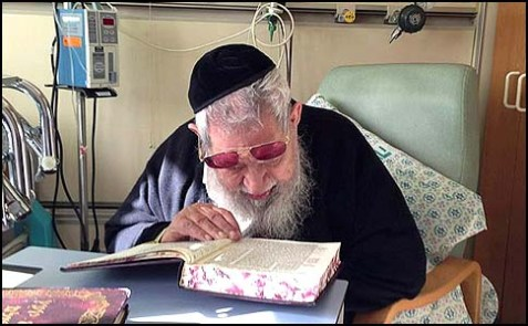 Shas spiritual leader Rabbi Ovadia Yosef recovering from a minor stroke in Hadassah Medical Center, Jerusalem, January 13, 2013.