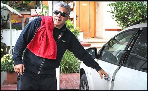 Yair Lapid, chairman of the Yesh Atid party, seen leaving his home on election day, January 22, 2013.