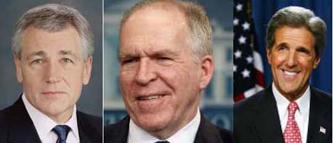 (L-R) Chuck Hagel, John Brennan, John Kerry