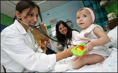 An Arab pediatrician examining a baby in the children's ward of the Wolfson Medical Center in Holon, Israel.