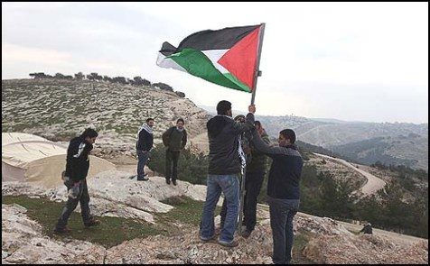 "Arab activists set up an ""outpost"" named Bab al-Shams (""gate of the sun""), on January 11, 2013, between Jerusalem and Maale Adumim."