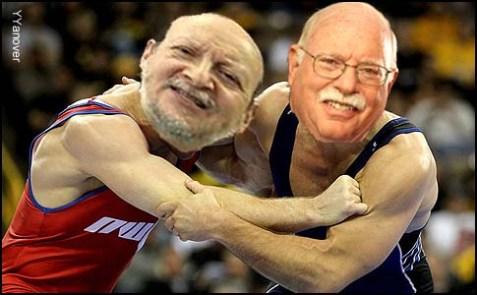 Rabbi Ephraim Buchwald (L.) and Mr. Michael Steinhardt will wrestle this week.