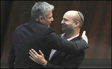 Yesh Atid Chairman Yair Lapid embracing Habayit Hayehudi Chairman Neftali Bennett in the Knesset, after the Lapid's virgin speech at the podium.