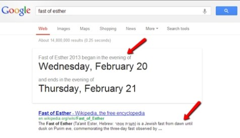 Google&#039;s Fast of Esther Error