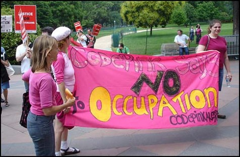 Medea Benjamin (left), one of the founders of Code Pink.
