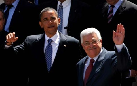 Then presidential candidate Barack Obama with Mahmoud Abbas in Ramallah, July 23, 2008.