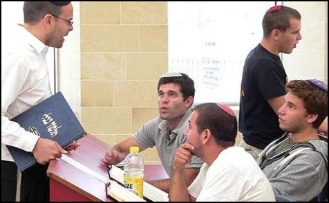 Mechina boys learning with Rav Dovid Abrahomovitz (L.)