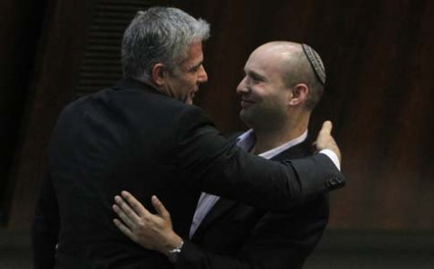 Yair Lapid and Naftali Bennett at the Knesset, February 11, 2013.