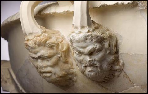 Handle of a footed marble basin decorated with Seilenoi heads, the 1st century BCE.