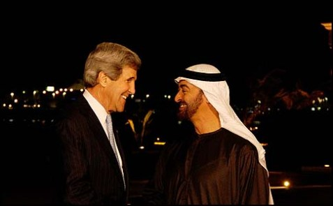 U.S. Secretary of State John Kerry is greeted by Crown Prince Mohammed bin Zayed al Nahyan upon arrival in Abu Dhabi, United Arab Emirates, on March 4, 2013.