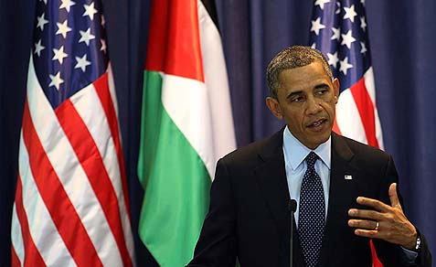 U.S. President Barack Obama during a press conference at the Muqata Presidential Compound in Ramallah, March 21, 2013.