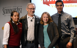 Steven Spielberg with three students from The Chandler School