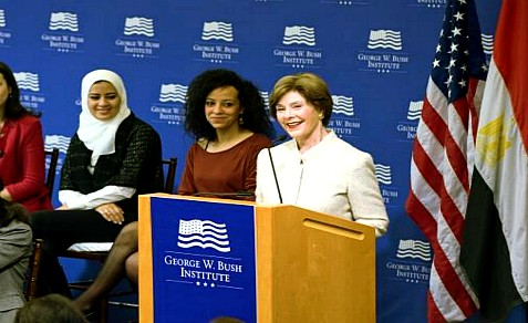 Laura Bush with 2013 Egyptian Fellows