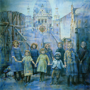 The Past: The Great Synagogue of Danzig (1984) oil on canvas by Ruth Weisberg. Courtesy Skirball Cultural Center