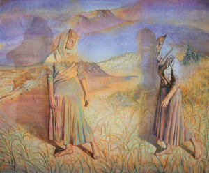 The Story of Ruth and Naomi (1988) Oil on canvas by Ruth Weisberg. Courtesy Jack Rutberg Fine Arts, L.A.