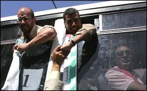 Palestinians who were freed from Israeli jails.