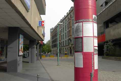 The Rosenstrasse area of Berlin, where Jewish husbands of non-Jewish German wives were held.