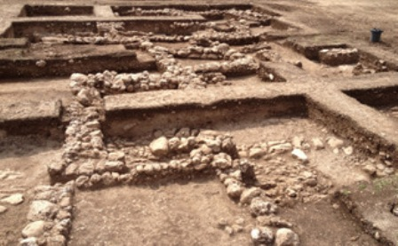 Excavation site in northern Israel where remains of a Stone Age village were found.
