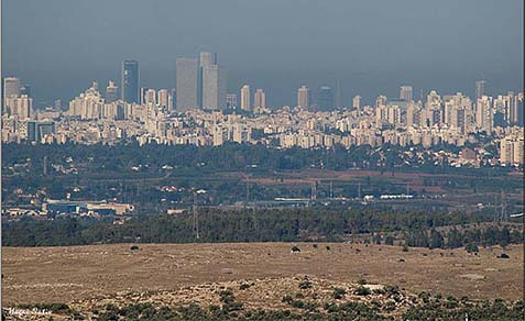 A view of Tel Aviv from the area governed by the Palestinian Authority.