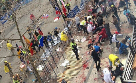 2 Bombs exploded at the finish line of the Boston Marathon, Monday, April 15, 2013