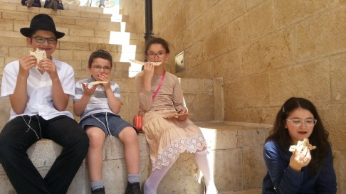 Kids Eating Matzah at Mamilla Mall