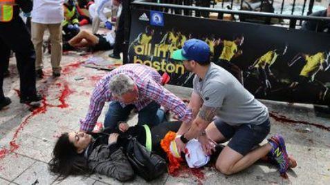 Victim being treated after Boston marathon terror bomb blast.
