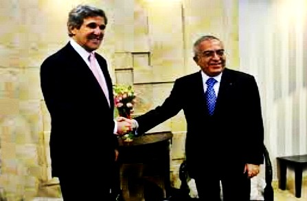 U.S. secretary of state John Kerry and Salam Fayyad outgoing PA prime minister