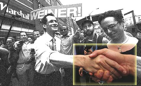 Anthony Weiner courting voters outside a Harlem subway station.