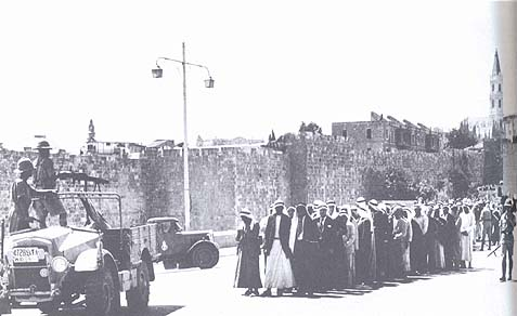 Arabs being rounded up by British soldiers following terrorist violence in 1921.