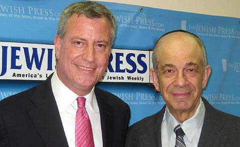 Bill de Blasio (left) and Jerry Greenwald, managing editor of The Jewish Press, at the JP office.