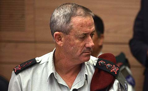 IDF Chief of Staff Lt.-Gen. Benny Ganz attending a Knesset Committee session.