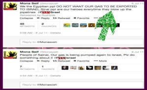 Tweets of Mona Seif encouraging blowing up gas pipeline between Egypt and Israel, and using vulgar and violent hashtag.