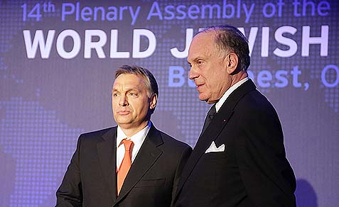 Hungarian Prime Minister Orbán (left) and WJC President Ronald S. Lauder
