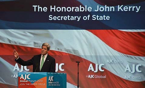 Secretary of State John Kerry delivers remarks at the American Jewish Committee Global Forum in Washington, DC on June 3, 2013.