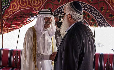 Sheich Farid Jabari has frequent and friendly conversations in his tent with local Jewish residents.