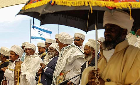 Israeli Ethiopians in a ceremony commemorating Ethiopians who died on their way to the Jewish State.
