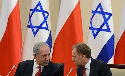 Israeli Prime Minister Benjamin Netanyahu with Poland's Prime Minister Donald Tusk in Warsaw, Poland.