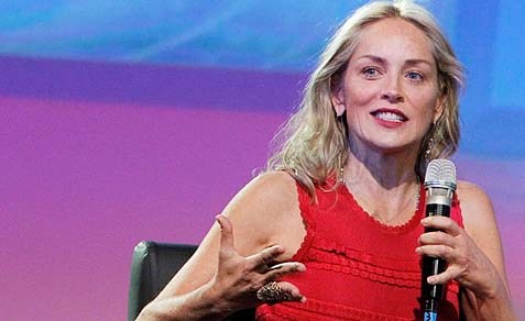 Sharon Stone at a panel of the 5th President's Conference, 2013.