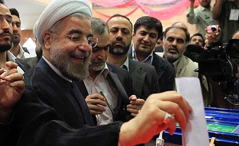 Hassan Rohani voting.