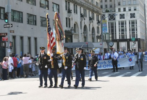 Active duty U.S. soldiers marching in the Celebrate Israel Parade.
