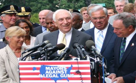 U.S. Senator Frank Lautenberg (center), NYC Mayor Michael Bloomberg (right) and Congresswoman Carolyn McCarthy in 2007