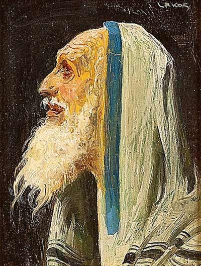 In Prayer, oil on board by Alfred Lakos. Courtesy Kestenbaum & Company.