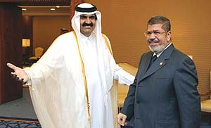 Qatari-emir-and-Mohammed-Morsi