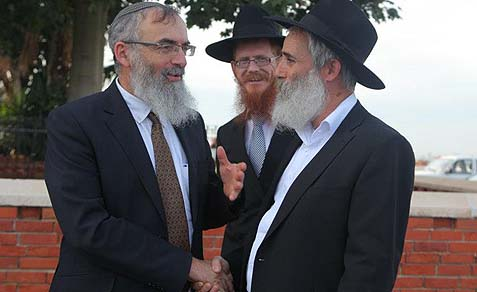 Rabbi David Stav in Kfar Chabad, where he is less likely to be attacked violently than in Bnei Brak.