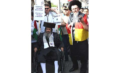 Rabbi Yosef Antebi in his wheelchair.