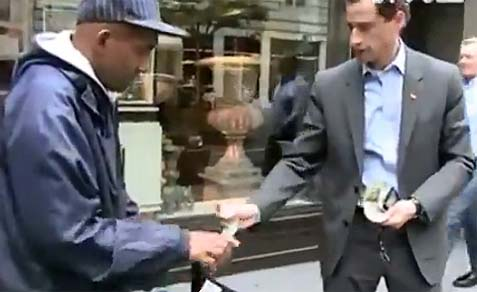Weiner Gives Tzedakah