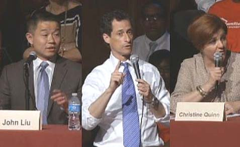 Candidates John Liu, Anthony Weiner, and Christine Quinn at the Charter School debate.