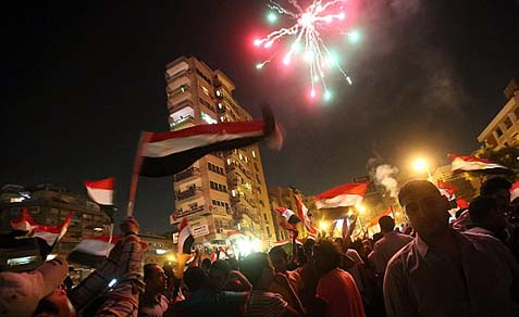 It feels and looks like a July 4th party on the streets of Cairo, as millions are celebrating with fireworks and lasers the ouster of the Muslim Brothers' president.