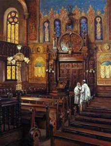Eldridge Street Synagogue; oil on canvas by Harry McCormick. Courtesy Chassidic Art Institute.