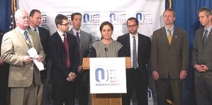 Advocates and legislators holding a news conference in Albany, N.Y., on June 12, 2013 calling for a program offering reduced utility rates to be extended to parochial schools in the state. Photo: Orthodox Union.